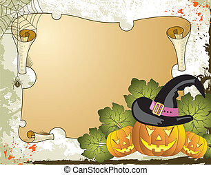Halloween background with pumpkin and parchment, vector...