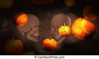 Halloween background loop skulls and pumpkins