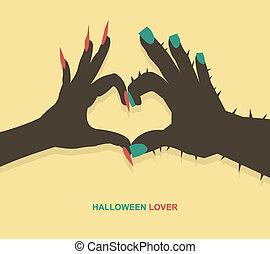 Monster hands make heart shape