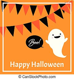 Halloween background of cute ghost with buntings Boo! and Happy Halloween text.