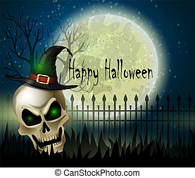 Halloween background of scull on the full moon