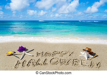 Halloween background on the beach with starfishes