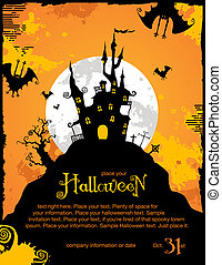 halloween background or party invitation template with bats...
