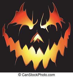 Halloween background. Scary pumpkin. - Halloween background...
