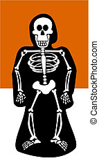 Halloween Background. Skeleton dressed in black - Halloween...