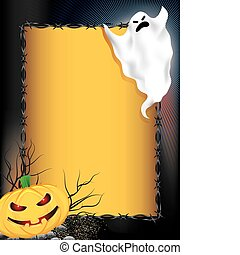 Halloween background - Smiling halloween pumpkin and ghost...