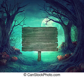 Halloween design - Halloween background. Spooky forest with ...