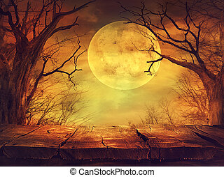 Spooky forest with full moon and wooden table - Halloween...