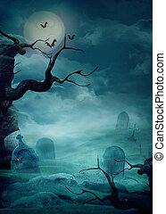 Halloween background - Spooky graveyard - Halloween design...