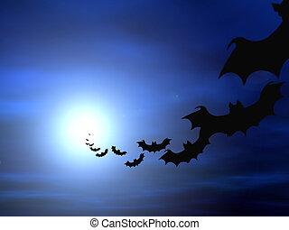 Halloween background, flying bats