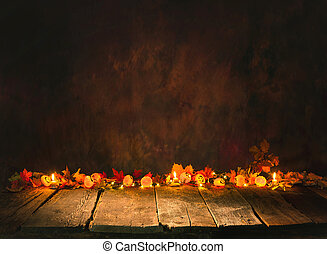 Halloween background with decoration on wooden board