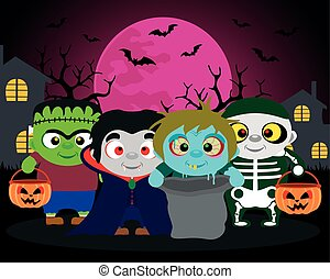 Halloween background  trick or treat with kids