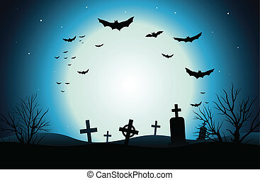 Halloween Background - Vector background of a scary cemetery...