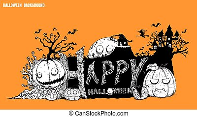 Halloween background vector by hand drawing.