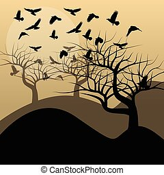 Halloween background vector concept with trees and raven
