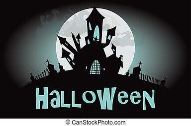 Halloween background. Vector illustration with castle