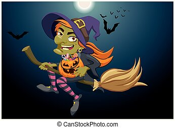 Halloween background. Witch flying on a broomstick and holding a pumpkin with sweets. Vector flat illustration
