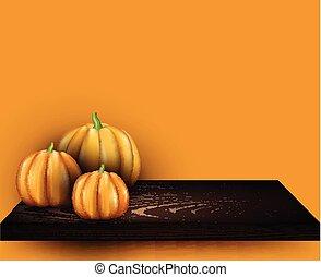Halloween background with 3d pumpkins.