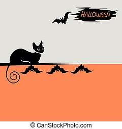Halloween background with a black cat