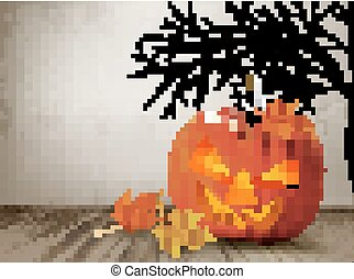 Halloween background with a Jack 'O Lantern. Vector.