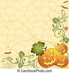 Halloween background with bat and pumpkin, element for...