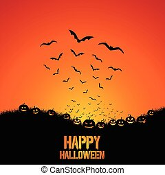 Halloween background with bats and pumpkins