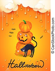 Halloween background with black cat, pumpkin and hanging elements