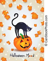 Halloween background with black cat, pumpkin and leaves