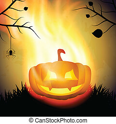 Halloween background with burning pumpkin