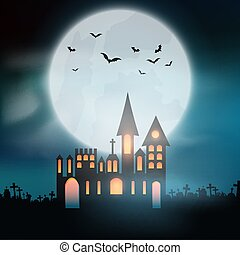 halloween background with castle in graveyard 0309 - ...