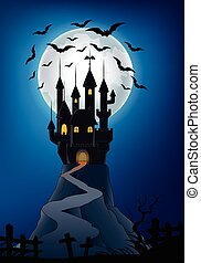 Halloween background with castle