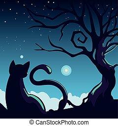 halloween background with cat in dark night