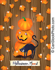 Halloween background with cat, pumpkins and leaves on wood