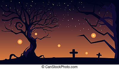 halloween background with cemetery and tombstones at night