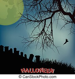 Halloween background with creepy tree graveyard and text