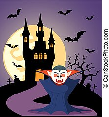 Halloween background with Dracula and full moon