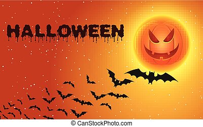 Halloween background with flying bats over moon