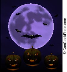 Halloween background with full Moon and pumpkins in dark night isolated. Halloween moon, scary bats