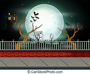 Halloween background with full moon background
