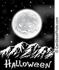 Halloween background with full Moon over mountains.  Vector illustration.