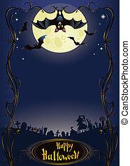 Halloween background with funny bat - vertical halloween...