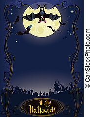 Halloween background with funny bat - vertical halloween...