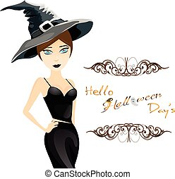Halloween background with funny girl