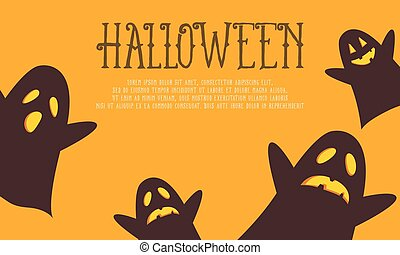 Halloween background with ghost collection