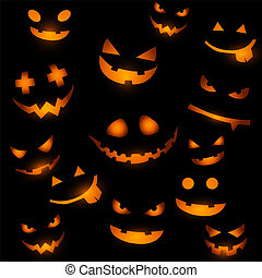Halloween background with glowing pumpkin faces