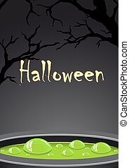 Halloween background with green potion and place for text
