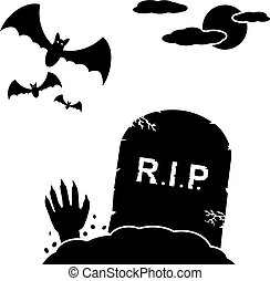 Halloween background with hand coming out of a grave