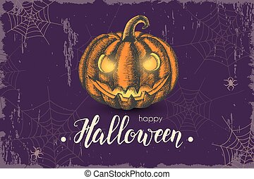 Halloween background with hand drawn pumpkin and hand made trendy lettering. Banner, flyer, brochure. Advertising