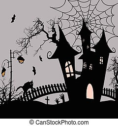 Halloween background with haunted house and bats