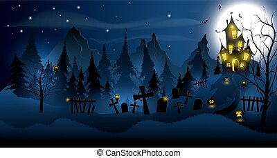 Halloween background with haunted house, tombs, forest and...